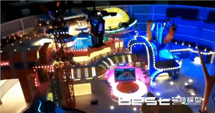 唐山室内游乐场建筑动态灯光模型视频